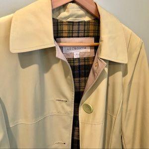 Liz Claiborne pale lime plaid lined trench coat m